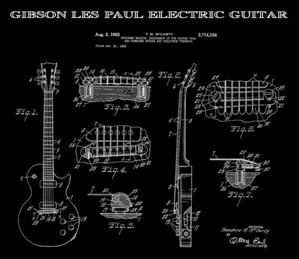 Electric Guitar Wall Art - Digital Art - Gibson Les Paul Guitar 2 Patent Art 1955 by Daniel Hagerman