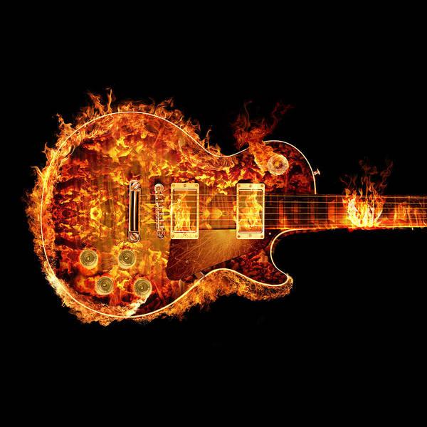 David Gilmour Painting - Gibson Les Paul Guitar On Fire Crop by Robert Gardiner