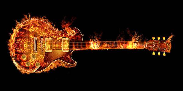 Gibson Les Paul Guitar On Fire Art Print