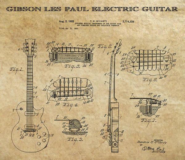 Electric Guitar Wall Art - Digital Art - Gibson Les Paul Guitar Patent Art 1955 by Daniel Hagerman