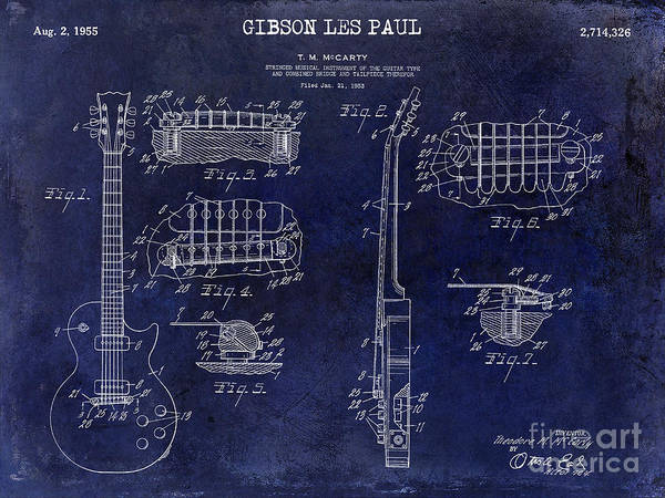 Patent Drawing Wall Art - Photograph - Gibson Les Paul Patent Drawing Blue by Jon Neidert