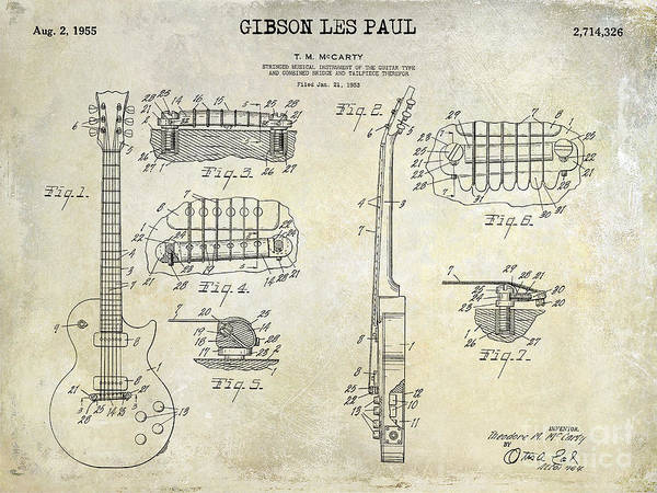 Patent Drawing Wall Art - Photograph - Gibson Les Paul Patent Drawing by Jon Neidert