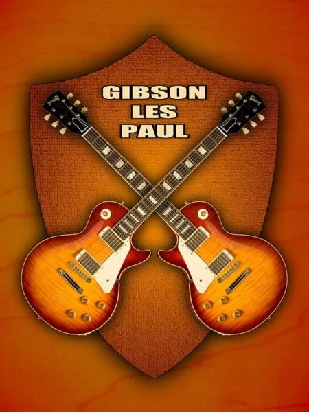 Cool Jazz Digital Art - Gibson Les Paul Standart  Shield by Doron Mafdoos