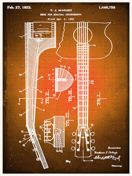 Drawing - Gibson Thaddeus J Mchugh Guitar Patent Blueprint Drawing Sepia by Tony Rubino