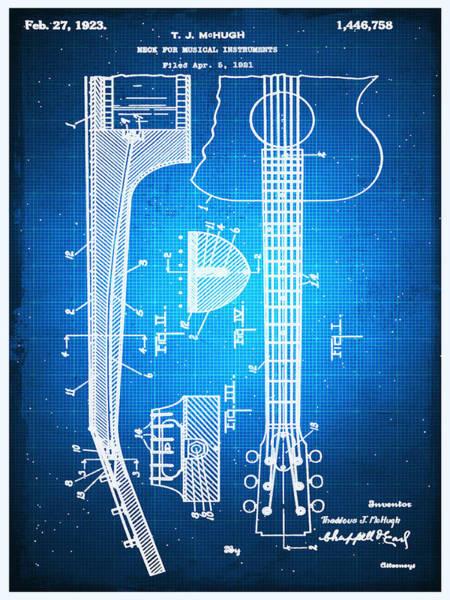 Drawing - Gibson Thaddeus J Mchugh Guitar Patent Blueprint Drawing by Tony Rubino