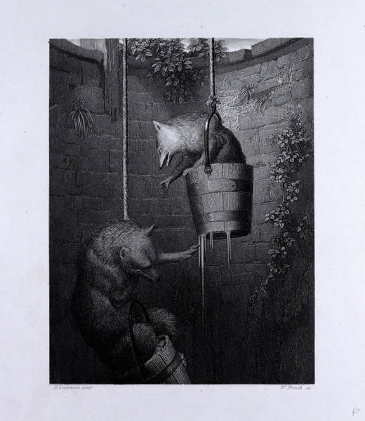 Reynard Wall Art - Drawing - Gieremund In The Well by English School