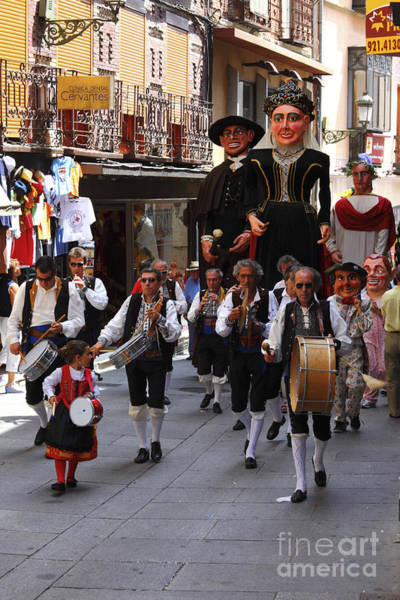 Photograph - Gigantes And Musicians At Segovia Week Festival by James Brunker