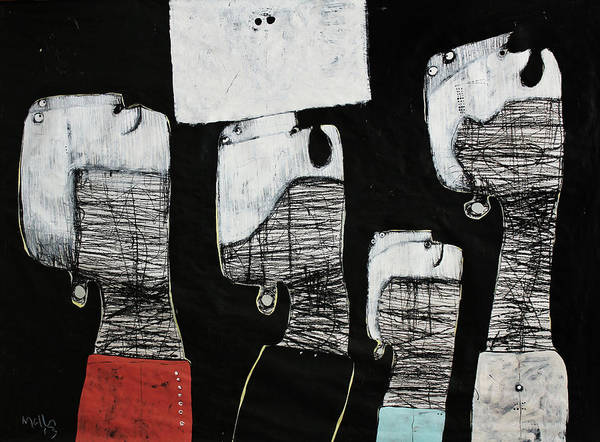 Charcoal Painting - Gigantes No. 10 by Mark M  Mellon