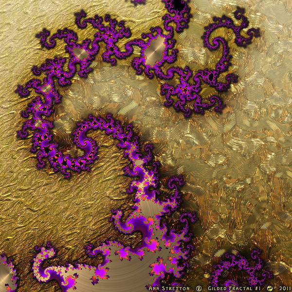 Digital Art - Gilded Fractal 1 by Ann Stretton