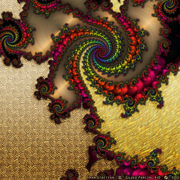 Digital Art - Gilded Fractal 10  by Ann Stretton
