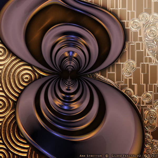 Digital Art - Gilded Fractal 2 by Ann Stretton