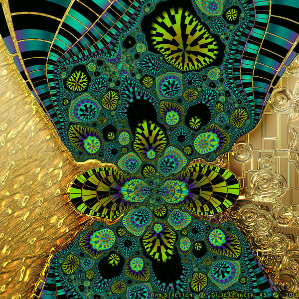 Digital Art - Gilded Fractal 5  by Ann Stretton