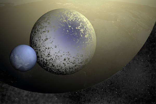 Digital Art - Gilded Planets by Lynn Hansen
