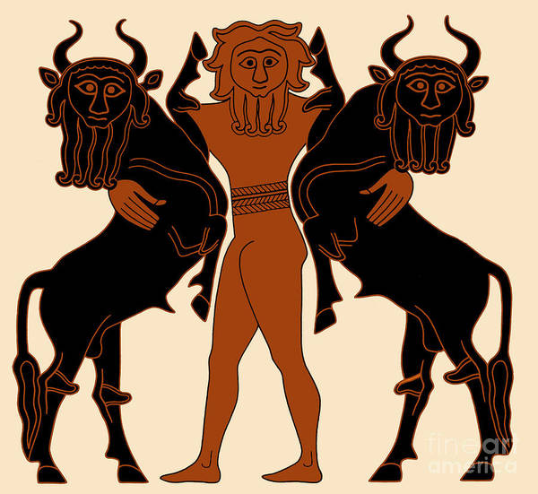 Photograph - Gilgamesh Subduing Two Bulls by Science Source
