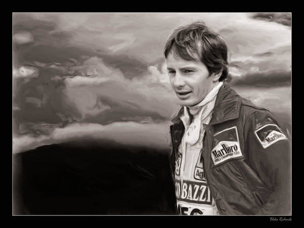 Photograph - Gilles Villeneuve Portrait Sepica by Blake Richards