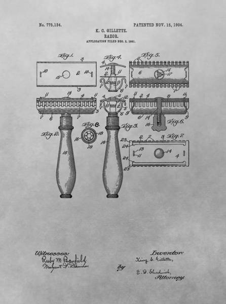 Drawing - Gillette Razor Patent Drawing by Dan Sproul
