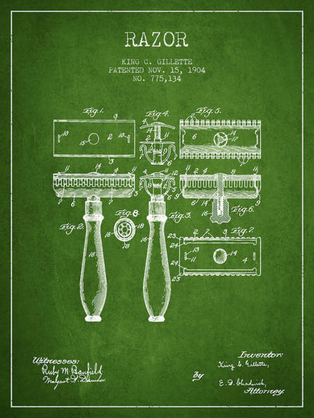 Groom Digital Art - Gillette Razor Patent From 1904 - Green by Aged Pixel