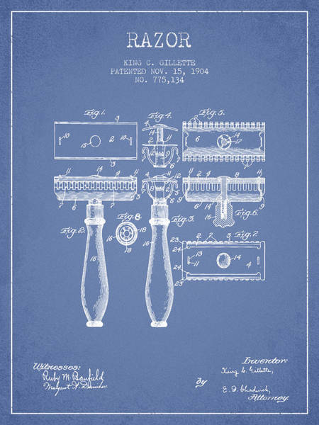 Groom Digital Art - Gillette Razor Patent From 1904 - Light Blue by Aged Pixel