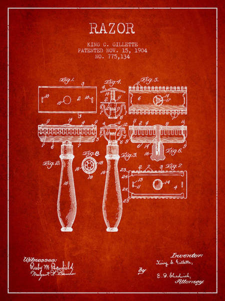 Groom Digital Art - Gillette Razor Patent From 1904 - Red by Aged Pixel