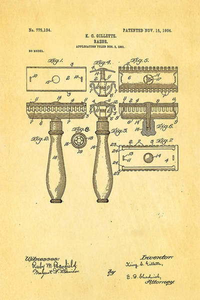 Inventor Photograph - Gillette Safety Razor Patent Art 1904 by Ian Monk