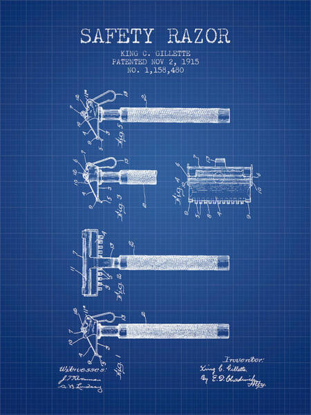 Groom Digital Art - Gillette Safety Razor Patent Drawing From 1915 - Blueprint by Aged Pixel