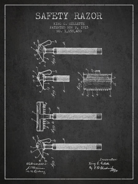 Groom Digital Art - Gillette Safety Razor Patent Drawing From 1915 - Dark by Aged Pixel