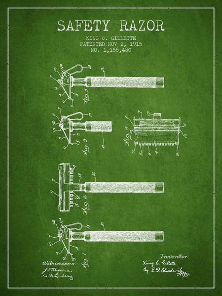 Groom Digital Art - Gillette Safety Razor Patent Drawing From 1915 - Green by Aged Pixel