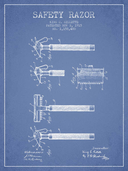 Groom Digital Art - Gillette Safety Razor Patent Drawing From 1915 - Light Blue by Aged Pixel