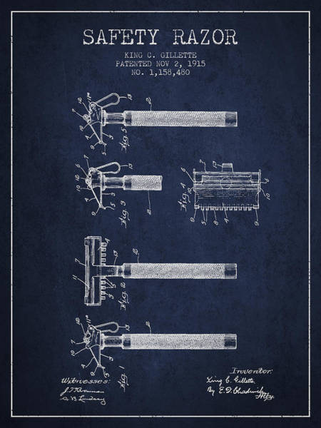 Groom Digital Art - Gillette Safety Razor Patent Drawing From 1915 - Navy Blue by Aged Pixel