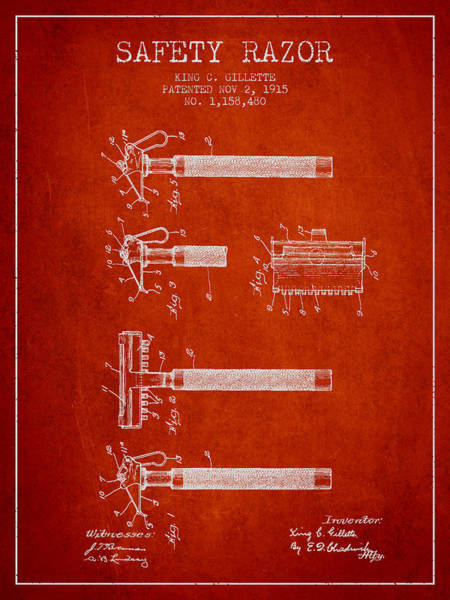 Groom Digital Art - Gillette Safety Razor Patent Drawing From 1915 - Red by Aged Pixel