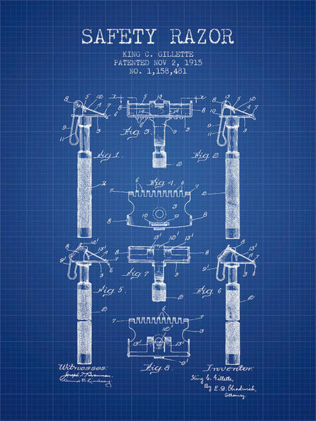 Groom Digital Art - Gillette Safety Razor Patent From 1915 - Blueprint by Aged Pixel