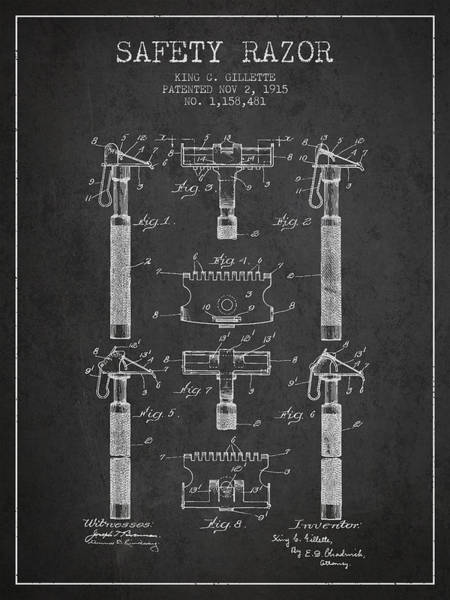 Groom Digital Art - Gillette Safety Razor Patent From 1915 - Dark by Aged Pixel