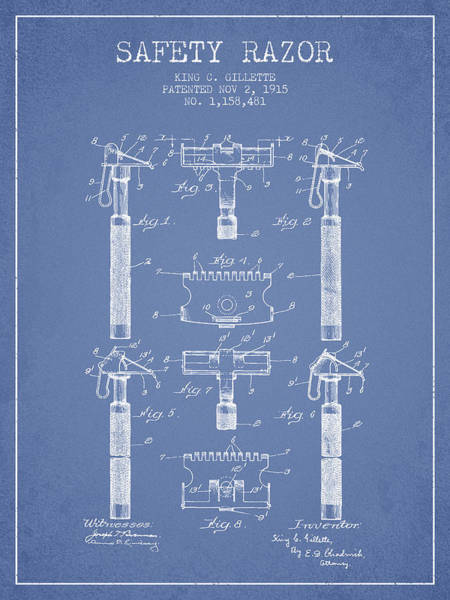 Groom Digital Art - Gillette Safety Razor Patent From 1915 - Light Blue by Aged Pixel