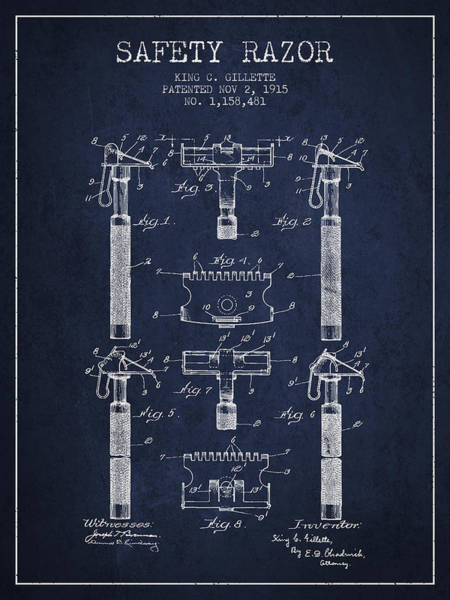 Groom Digital Art - Gillette Safety Razor Patent From 1915 - Navy Blue by Aged Pixel