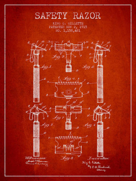 Groom Digital Art - Gillette Safety Razor Patent From 1915 - Red by Aged Pixel