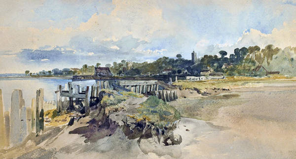 Medway Wall Art - Painting - Gillingham Kent From The Medway by William James Muller