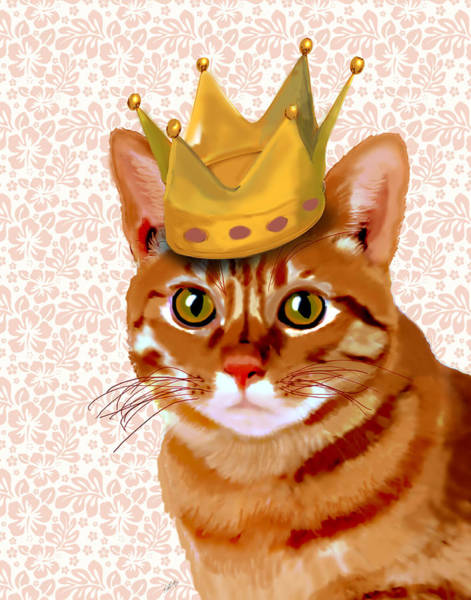 Regal Digital Art - Ginger Cat With Crown Portrait by Kelly McLaughlan