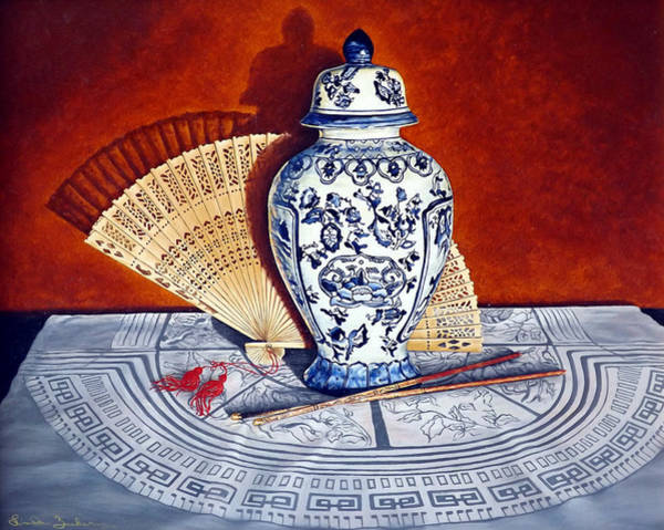 Painting - Ginger Jar And Fan by Linda Becker