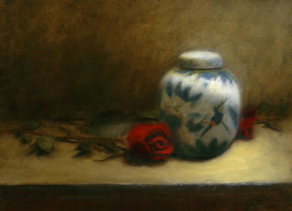 Wall Art - Painting - Ginger Jar With Roses by Christy Olsen