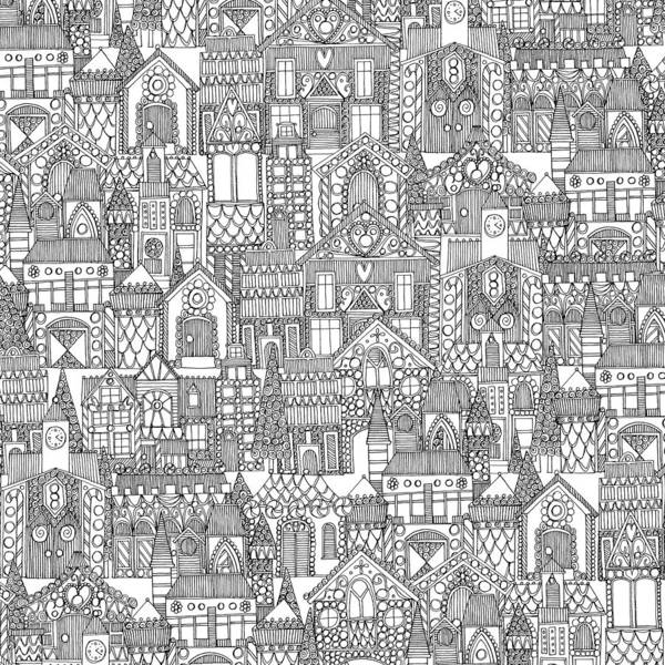 Mono Painting - Gingerbread Town Black White by MGL Meiklejohn Graphics Licensing