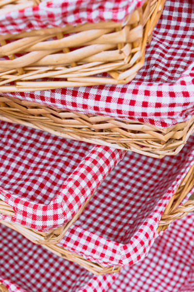 Picnic Basket Wall Art - Photograph - Gingham Baskets by Tom Gowanlock