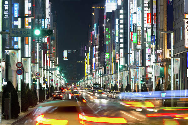 Ginza Wall Art - Photograph - Ginza At Night by Wilfred Y Wong