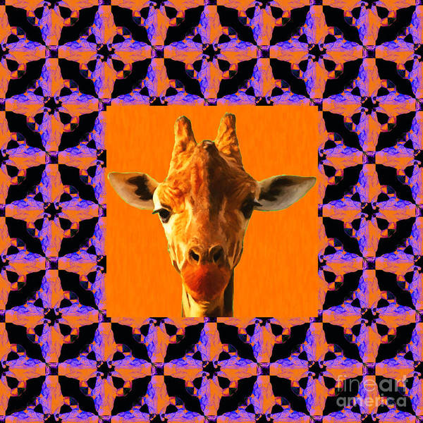 Colorful Giraffe Photograph - Giraffe Abstract Window 20130205m118 by Wingsdomain Art and Photography