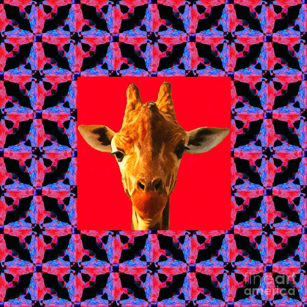 Colorful Giraffe Photograph - Giraffe Abstract Window 20130205m150 by Wingsdomain Art and Photography