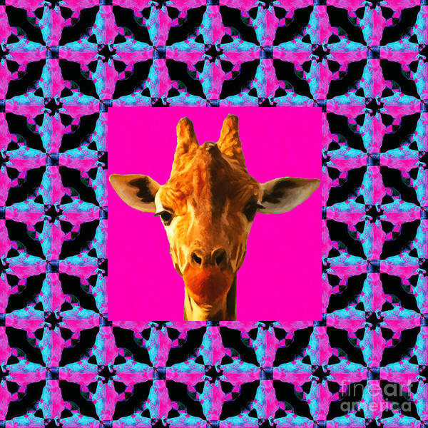 Colorful Giraffe Photograph - Giraffe Abstract Window 20130205m180 by Wingsdomain Art and Photography
