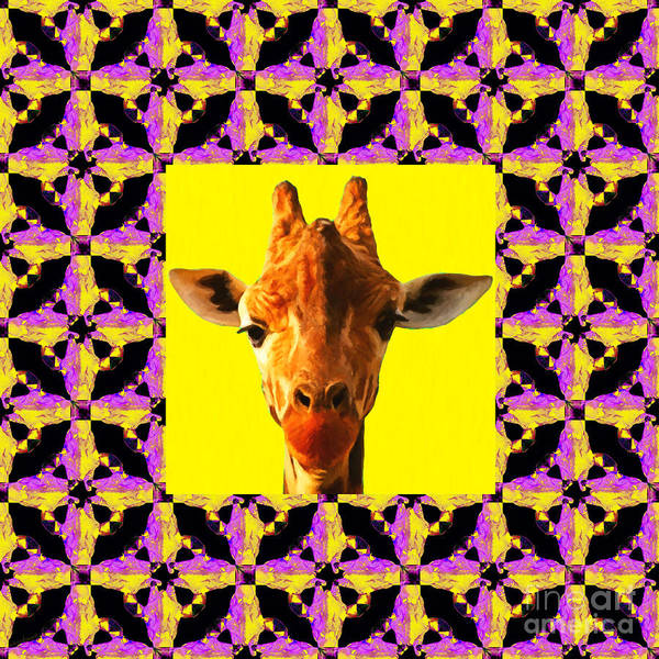 Colorful Giraffe Photograph - Giraffe Abstract Window 20130205m88 by Wingsdomain Art and Photography