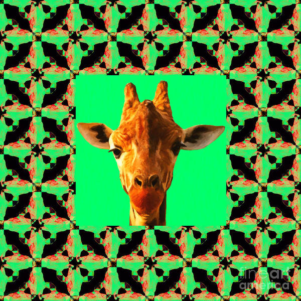 Colorful Giraffe Photograph - Giraffe Abstract Window 20130205p0 by Wingsdomain Art and Photography