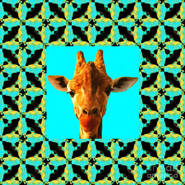 Colorful Giraffe Photograph - Giraffe Abstract Window 20130205p40 by Wingsdomain Art and Photography