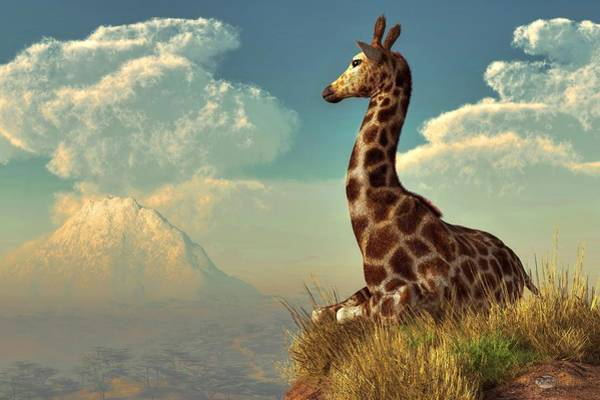 Giraffe And Distant Mountain Art Print