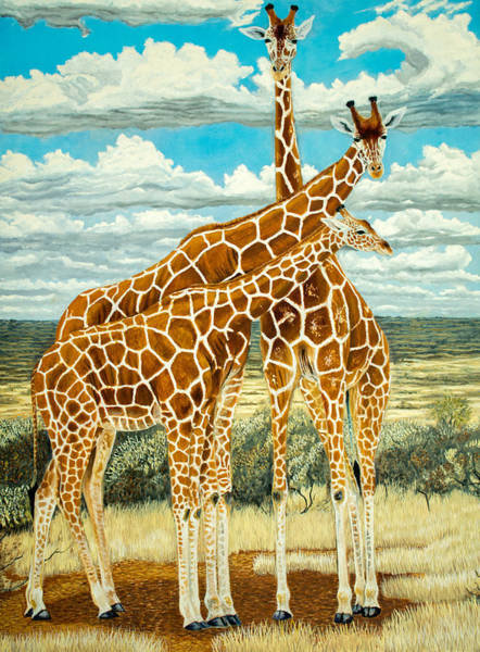 Manuel Wall Art - Painting - Giraffe Family Original Oil Painting 24x18in  by Manuel Lopez